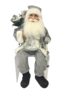 40CM SITTING SANTA IN SILVER GREY