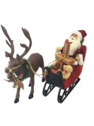 45CMH TRADITIONAL SANTA IN SLEIGH WITH REINDEER