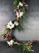 180CML RED/WHITE FLOWER BERRY GARLAND