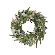 GLITTER PINE/GOLD BERRY WREATH