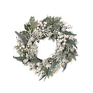 WHITEBERRY/LEAF/FERN/SILVER BAUBLE WREATH
