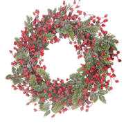 FROSTED BERRY/PINE/LEAF WREATH