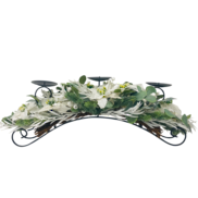 GLITTER WHITE POINSETTIA/BERRY  CANDLEHOLDER