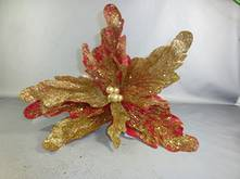 RED POINSETTIA W/ GOLD GLITTER (12)