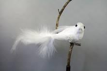 WHITE  VELVET AND FEATHER BIRD ON CLIP (6)