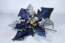 30CMD RICH BLUE AND MESH GOLD GLITTER FLOWER (12)
