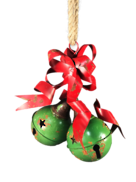 25CMH GREEN METAL BELLS WITH RED METAL RIBBON