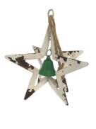 AGED WHITE METAL HANGING STAR