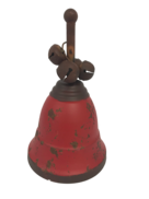 AGED RED METAL BELL WITH HANDLE