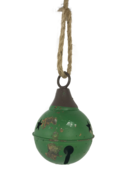 AGED GREEN METAL BALL BELL HANGING (6)