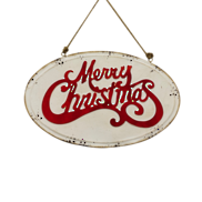 RED/WHITE MERRY CHRISTMAS OVAL SIGN