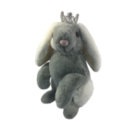 37CMH GREY AND WHITE FUR SITTING BUNNY WITH CROWN