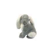 20CMH GREY AND WHITE FUR LEFT LOOKING BUNNY WITH CROWN