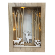 WOOD LOOK 3D LED DEER BOX