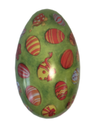 MEDIUM METAL EGG - GREEN WITH DECORATED EGGS (MIN 6)