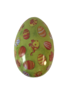 LARGE METAL EGG -GREEN EGG WITH DECORATED EGGS (MIN 6)