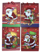 DOZEN, 4 ASSORTED, LARGE CARRY BAGS, RED GLITTER SANTA