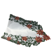 RED POINSETTIA RUNNER - WHITE FABRIC INSERT