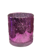 DARK PURPLE SNOWFLAKE SILVER INSIDE VOTIVE (6)