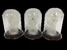 SET3 GLASS ANGELS UNDER DOMES