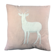 PINK VELVET WHITE DEER STANDING CUSHION