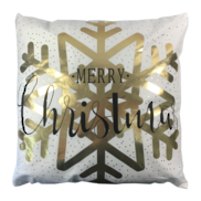 MERRY CHRISTMAS GOLD SNOWFLAKE CUSHION