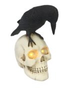 LED LOOKING DOWN SKULL WITH CROW