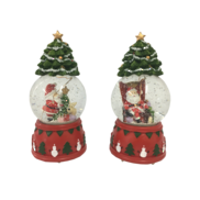 SET 2, LED SNOWGLOBES WITH TREE TOP