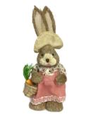 STRAW GIRL BUNNY HOLDING BASKET OF CARROTS