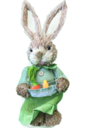 GIRL STRAW BUNNY IN GREEN DRESS WITH CARROTS IN APRON