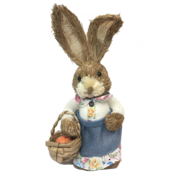 GIRL STRAW BUNNY HOLDING BASKET OF EGGS IN APRON
