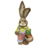 GIRL STRAW BUNNY HOLDING BASKET OF CARROTS