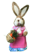 GIRL STRAW BUNNY, PINK DRESS WITH CARROT BASKET
