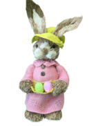GIRL STRAW BUNNY, PINK DRESS WITH EGG IN APRON