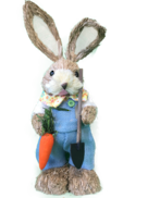 BOY STRAW BUNNY WITH BLUE SUIT, HOLDING CARROT & SPADE