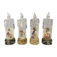 SET4, LED, NATIVITIES IN ACRYLIC CANDLES