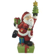 LARGE LED SANTA HOLDING TREE