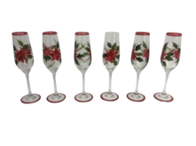 SET6 POINSETTIA CHAMPAGNE GLASS