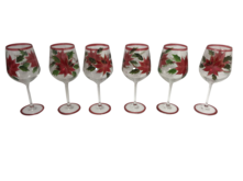 SET6 POINSETTIA RED WINE GLASS