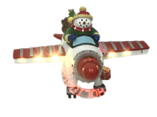 SNOWMAN IN PLANE WITH LED PROPELLOR