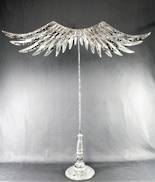 WHITE SILVER ANGEL WING WREATH HANGER