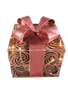 15CMSQ ROSE GOLD METAL PRESENT AND BOW WITH LIGHTS