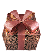 20CMSQ ROSE GOLD METAL PRESENT AND BOW WITH LIGHTS
