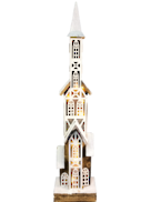 70CMH WOODEN CHURCH WITH PLASTIC WINDOWS LED