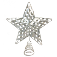 SILVER METAL RIBBON STAR TREE TOPPER