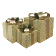 SET3 CREAM / CHAMPAGNE DECORATIVE GIFT BOXES