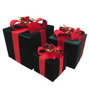 SET3, GREEN VELVET RED BOW BOXES