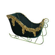 31CM GREEN VELVET GOLD TRIM SLEIGH