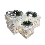 SET3 WHITE AND SILVER BOW GIFT BOXES LED