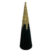40CMH GREEN VELVET GOLD GLITTER CONE TREE